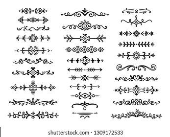 Decorative dividers. Text lines vintage hand drawn border decoration design elements dividing line doodle break vector separation