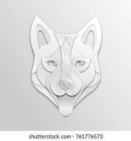 Decorative Dog Face is Made of White Paper Vector Animal Head Applique. Creative Paper Art with Symbol of 2018 Chinese New Year.