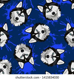 Decorative dog print with husky muzzles and blue paint splashes on dark blue backdrop.