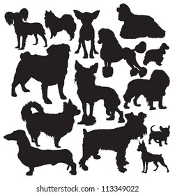 decorative dogs vector silhouette