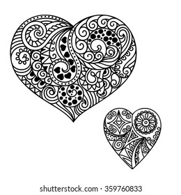 Decorative doodle heart in mhendi style.