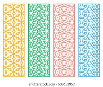 Decorative doodle lace borders patterns. Tribal ethnic arabic, indian, turkish ornament, bookmarks templates set. Isolated design elements. Stylized geometric floral border, fashion collection