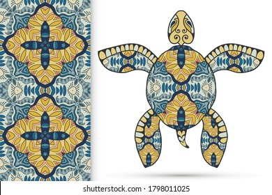 Decorative doodle turtle with ornament and colorful seamless hand drawn pattern. Tribal totem animal, isolated element for scrapbook, invitation card, book cover design, textile fabric print