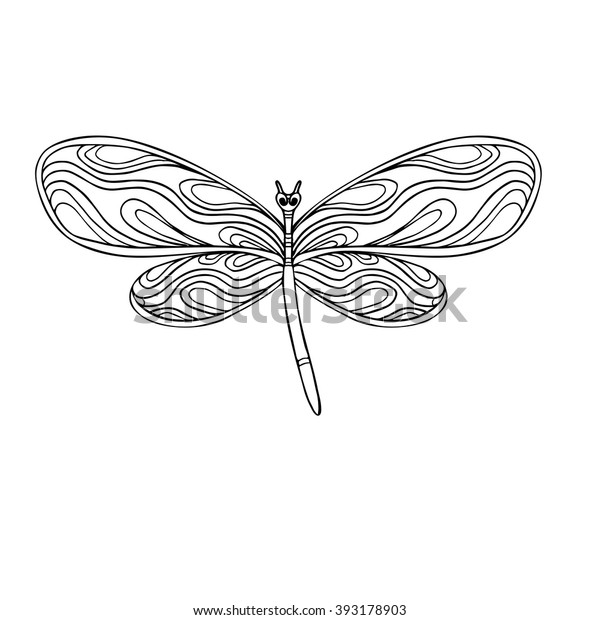 Geometric Dragonfly Coloring Pages | 620x600
