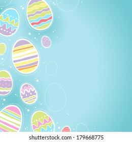 Decorative Easter eggs background - blue color. Good for postcard design.
