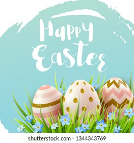 Decorative Easter eggs, blue spring flowers and green grass. Festive background. Vector illustration. Happy Easter lettering - Shutterstock ID 1344343769