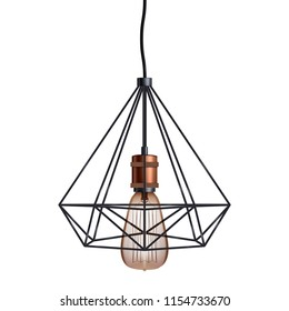 Decorative edison light bulb in Retro design wire lampshade. Vintage and antique style with copper. Original Vintage design. Vector Illustration isolated on white background