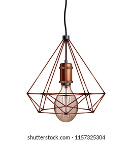 Decorative edison light bulb in Retro design copper wire lampshade. Vintage and antique style. Original Vintage design. Vector Illustration isolated on white background