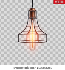 Decorative edison light bulb in Retro design copper wire lampshade. Vintage and antique style. Original Vintage design. Vector Illustration isolated on transparent background