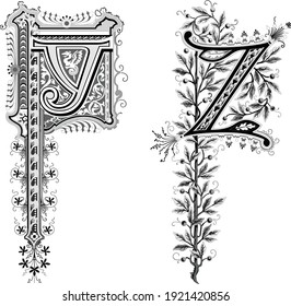 Decorative elegant capital letter Y Z with floral ornaments on white background