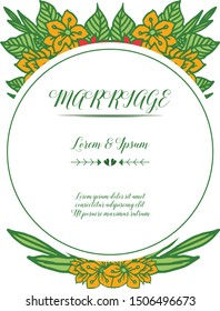Decorative of elegant colorful floral frame, template for card of marriage. Vector