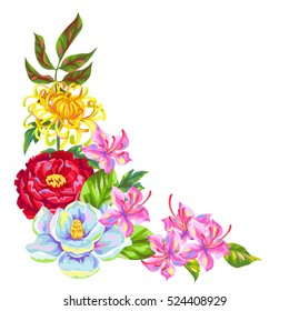 Decorative element with China flowers. Bright buds of magnolia, peony, rhododendron and chrysanthemum.