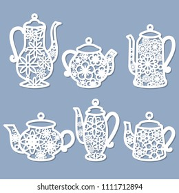 Decorative element for laser cutting. Set of decorative teapots for your design. For cutting from wood, paper, metal