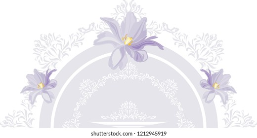 Decorative element with lilac tulips for postcard design. Vector