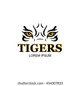 Decorative element of tiger's head. Hand drawn illustration of tiger's eyes. Vector design for print, label, poster, emblem, logo.
