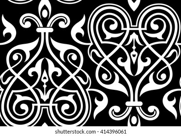 Decorative element traditional damask pattern.Texture for wallpapers,textile,upholstery fabric.Seamless vector pattern.