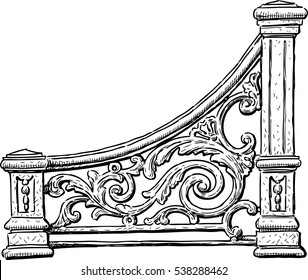 the decorative element of a vintage bench