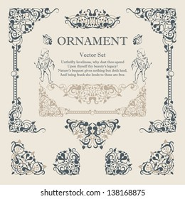 Decorative elements of  book pages