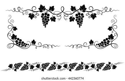 Decorative elements, corners with bunches of grape, grape leaves, swirls.
