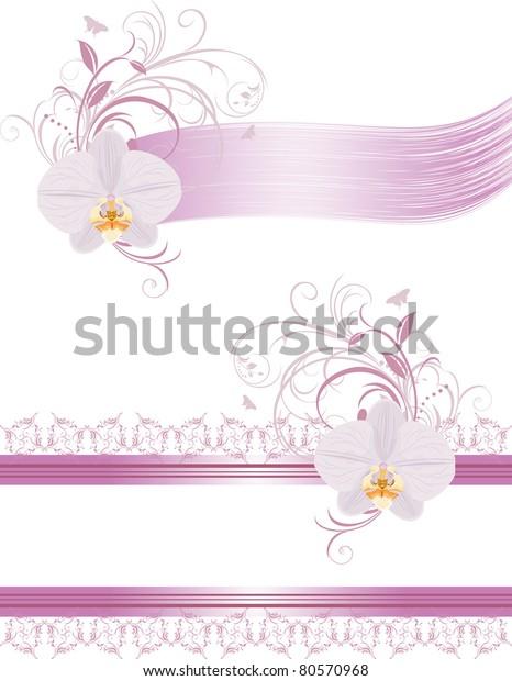 decorative-elements-design-orchids-vecto
