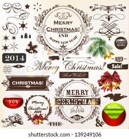 Decorative elements for elegant Christmas design. Calligraphic vector