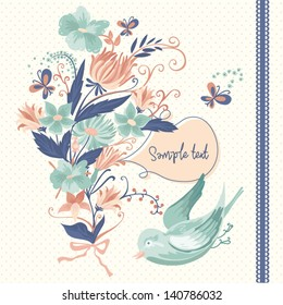 Decorative elements with flowers and bird. Floral invitation card.