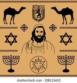 decorative elements of Jewish culture on a beige background