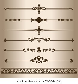 Decorative elements. Decorative line dividers and ornaments. Vector illustration.