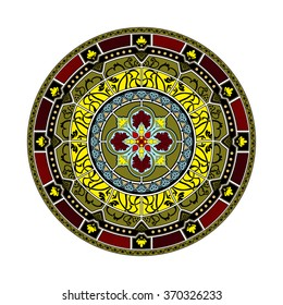 Decorative elements. Orient traditional ornament. Mandala. Oriental and ethnic art theme. Stained-glass window.