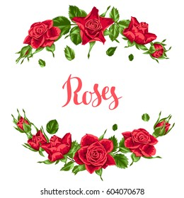 Decorative elements with red roses. Beautiful realistic flowers, buds and leaves.