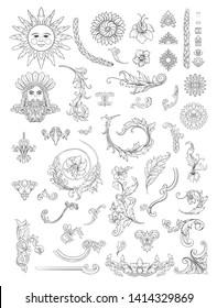 Decorative elements Inbaroque, rococo, victorian, renaissance style. Trendy frolar vintage pattern.  Vector illustration. Outline hand drawing vector illustration.