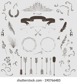 Decorative elements set: arrows, laurel, wreath, feathers, ribbons and labels.