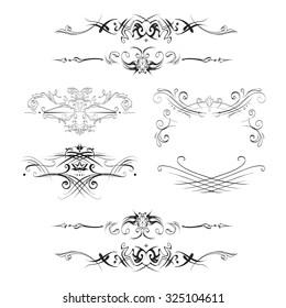 decorative elements in vintage style for decoration layout, framing, for tektsta for advertising, vector illustration hands, set