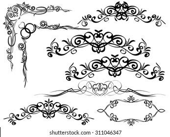 Decorative elements.Vector image. Vintage. / Vintage frames and scroll elements.