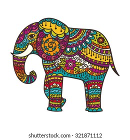Decorative elephant illustration. Indian theme with ornaments. Vector isolated image