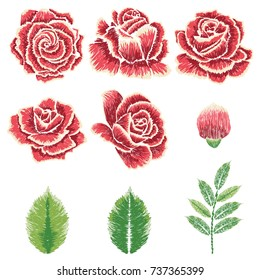 Decorative embroidery design with roses floral ornament.