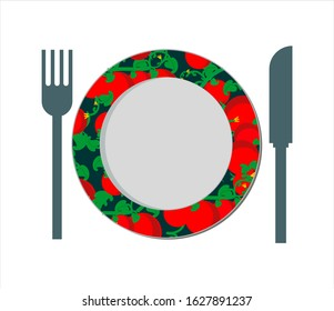 Decorative empty plate with fork and knife