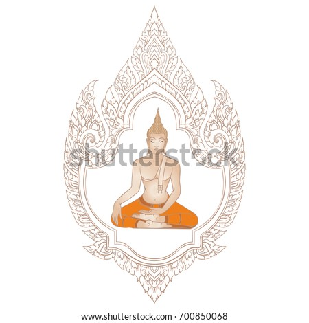 Decorative Ethnic Thai Frame Lord Buddha Stock Vector (Royalty Free ...