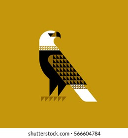 Decorative falcon on ochre background