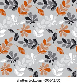 decorative fall leaves seamless pattern for surface design, fabric, wrapping paper, background. abstract geometry style vector autumn illustration. natural leaf simple repeatable motif