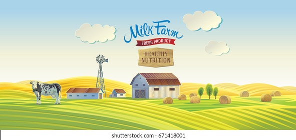 Decorative farm in cartoon style with a cow and label inscriptions