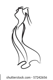 Decorative fashion model long dress lines