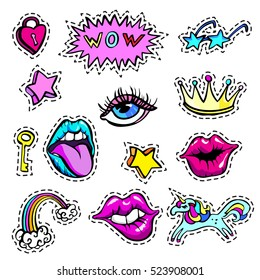Decorative fashion patch badges set with colorful girls fashion elements. Girl patches in comic cartoon 80-90 fashion style fashion design.Vector illustration stock vector.