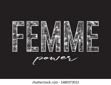 Decorative Femme Power Text with Silver Sequins Ornament