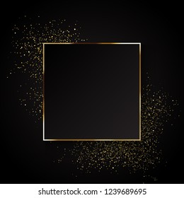 Decorative festive background with gold glitter and blank frame for text