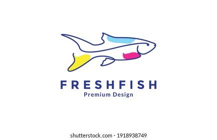 decorative fish aquarium line colorful logo symbol vector icon design illustration