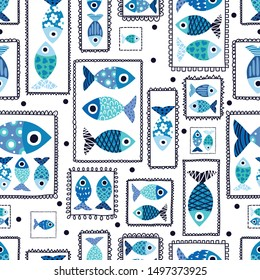 Decorative fish in cute frames. Can be used in textile industry, paper, background, scrapbooking.