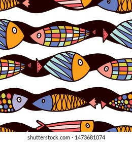 Decorative fish on a mint background and colorful waves. Seamless pattern can be used for wallpaper, pattern fills, web page background, surface textures.
