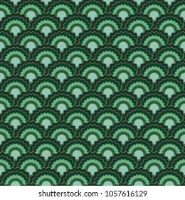 Decorative fish scales squama background, vector seamless fabric pattern, tiled textile print. Typical japanese squama scales seamless arc tiles design. Siren skin pattern.