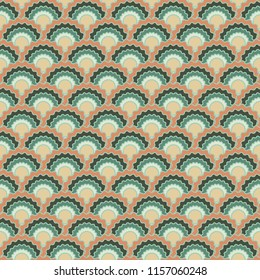 Decorative fish scales squama background, vector seamless fabric pattern, tiled textile print. Classic japanese squama scales seamless arc tiles design. Wallpaper pattern.